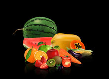 Group Vegetables and fruits. Isolated on black background, vector illustration Royalty Free Stock Photography
