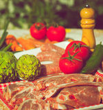 Group vegetables and meat uncooked stock image