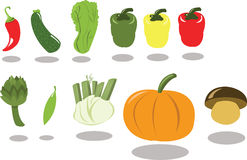 Group of Vegetables part 2. A group of vegetables, every object is singly grouped Royalty Free Stock Photo