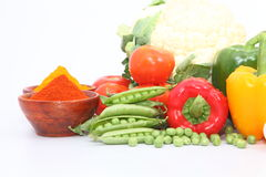 Group of Vegetables and spices stock photo
