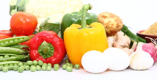 Group of Vegetables & Eggs Royalty Free Stock Photo