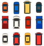 A group of vehicles. A topview of a group of vehicles on a white background Stock Photography
