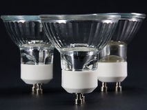 Group of vertical No LED GU10 bulbs, lamps against a black backg Stock Images