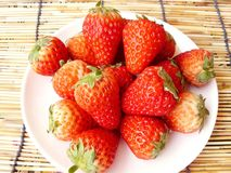 group of very fresh harvested strawberries Stock Image