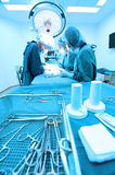 Group of veterinarian surgery in operation room Stock Photos
