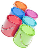 Group of Vibrant Colored Paint Cans Stock Image