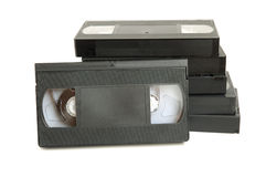 Group of video cassette. Tapes on white background stock photos