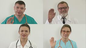 Group video conference of medicine workers share ideas remotely. Doctors welcome each other.