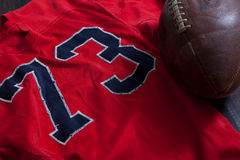 A group of vintage American football equipment Royalty Free Stock Images