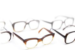 ef33130df02 Group of vintage antique eyeglasses. Isolated on the white background  royalty free stock images