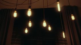 Group of Vintage Bulb Lights. stock footage