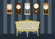 Group of vintage clocks with luxury armchair,Vector illustrations Royalty Free Stock Images