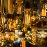 Group of vintage electric light bulbs with incandescent filament Royalty Free Stock Photography