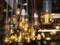 Group of Vintage Electric Light Bulbs with Incandescent Filament Stock Photography