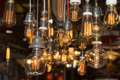 Group of Vintage Electric Light Bulbs with Incandescent Filament Stock Image