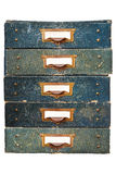 Group of vintage filing drawers with empty labels isolated on wh Royalty Free Stock Photography