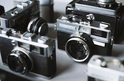 Group of vintage film cameras Stock Photography