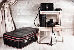 Group of vintage leather bags for photographic equipment Stock Photo