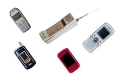 Group of vintage mobile phone Stock Photography