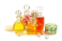 Group of the vintage perfume bottles stock photos