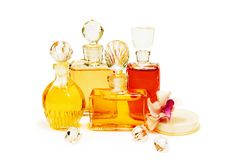 Group of the vintage perfume bottles stock photography