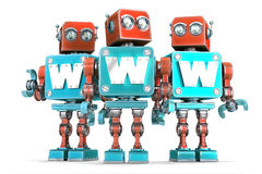 Group of vintage robots with WWW sign. Technology concept. Isolated. Contains clipping path Royalty Free Stock Image