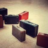 Group of vintage suitcase stock photo