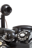 A group of vintage telephones on a white background Royalty Free Stock Photos
