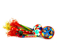 A Group of Vintage Tin Party Noise Makers Royalty Free Stock Images