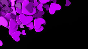 The group violet scattered hearts on a black background. Valentine`s day background. The group scattered hearts on a white background . Valentine`s day Royalty Free Stock Photos