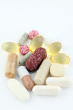 Group of vitamin pills food supplements Royalty Free Stock Images