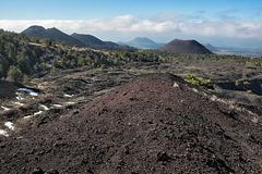 Group of volcanic tuff cones in Western Etna Park. Sicily stock image