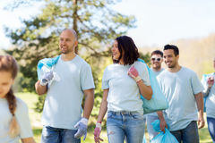 Group of volunteers with garbage bags in park Royalty Free Stock Photography