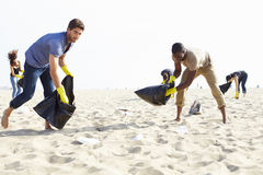 Group Of Volunteers Tidying Up Rubbish On Beach Stock Photos