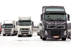 Group of Volvo Trucks in Winter Conditions. FORSSA, FINLAND - JANUARY 25, 2014: Group of Volvo trucks in winter conditions. Volvo Trucks has developed a system stock photos