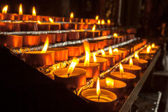 Group of Votive Candle in a Row Stock Photo