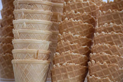 Group of waffle cones close-up Stock Image