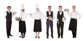 Group of waiter and waitress Royalty Free Stock Images