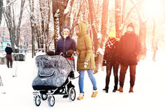 Group walk outdoor winter royalty free stock photography