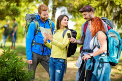 Group of walkers in forest pointing something Royalty Free Stock Photos