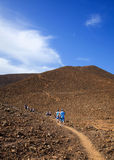 Group of walkers on the path up Bayuyo Stock Images