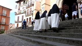 Group of walking nuns stock footage