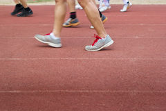 Group of walking and runners on racetrack, soft and blur Stock Photos