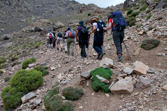 Group walking in to Toubkal Stock Image