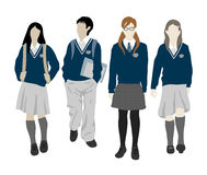 Group of walking vector students Stock Photography