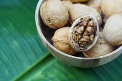 Group of walnut in wooden bowl on green leaf background, copy space, super food concept. Group of walnuts and a crack nut in wooden bowl on green leaf background royalty free stock images