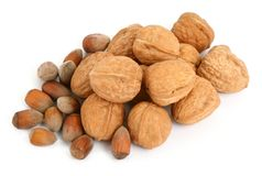 Group of walnuts and hazelnuts Stock Photography