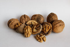 Group of Walnuts Isolated on White Full, Splitted, Heart, Brain Stock Photos