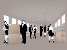 Group in warehouse Royalty Free Stock Photos