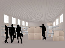 Group in warehouse Royalty Free Stock Photo